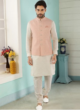 Sangeet Function Wear Cream Color Kurta Pajama With Jacket