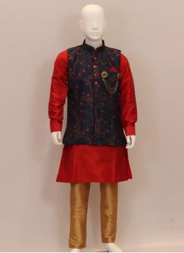 Sangeet Function Wear Designer Kurta Pajama With Koti For Kids
