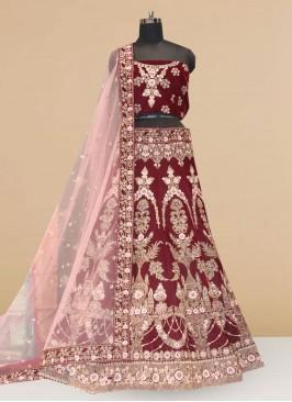 Sangeet Function Wear Designer Lehenga Choli In Maroon Color