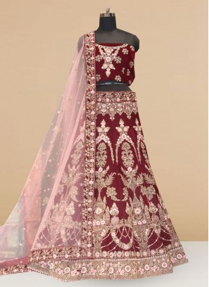 Sangeet Function Wear Designer Lehenga Choli In Maroon Color