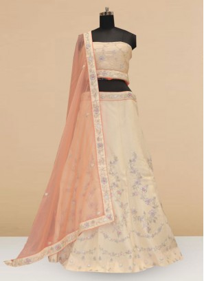 Sangeet Function Wear Designer Lehenga Choli In Off White Color
