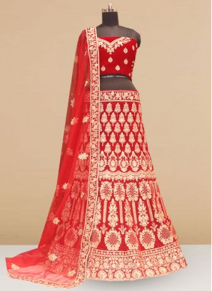 Sangeet Function Wear Designer Lehenga Choli In Red Color