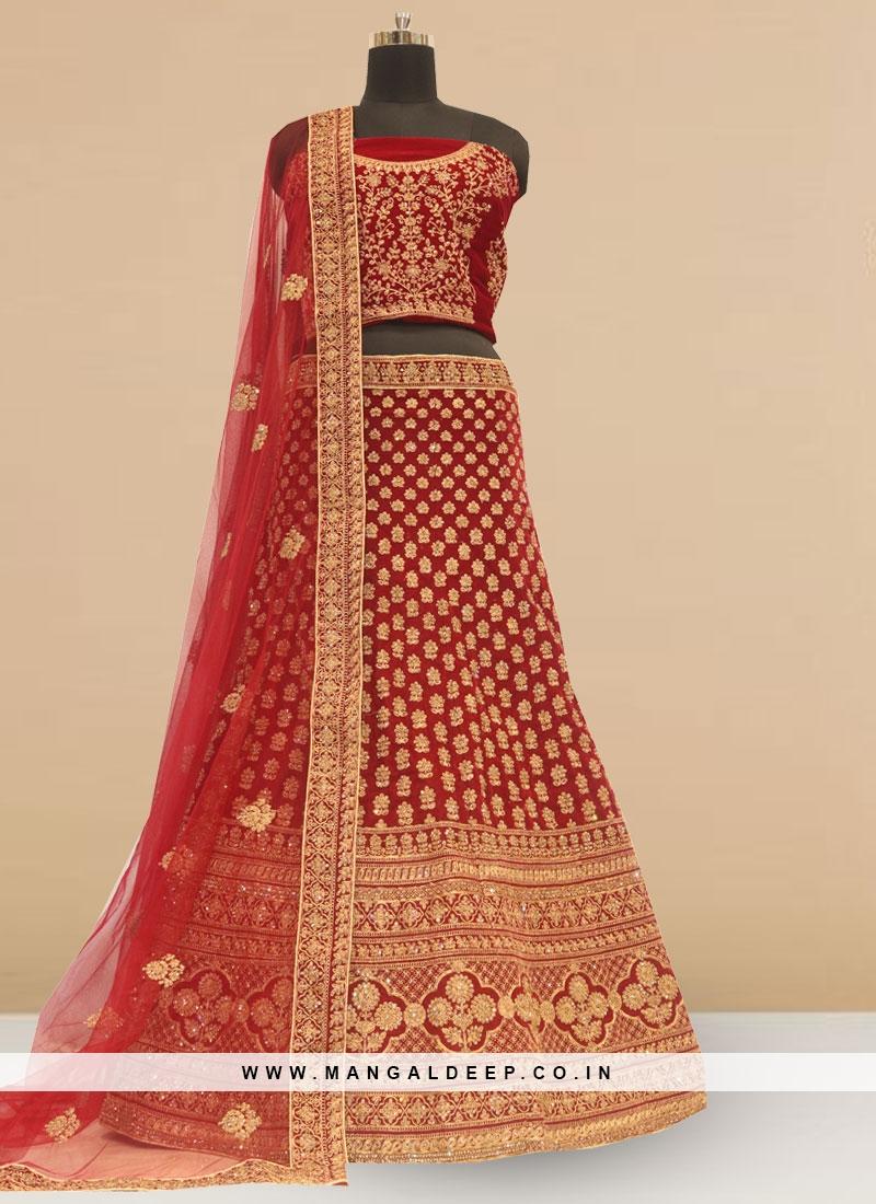 Sangeet Function Wear Designer Lehenga Choli In Red Color