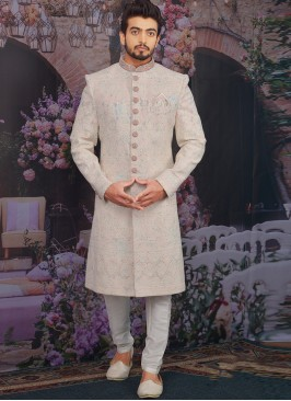 Sangeet Function Wear Georgette Fancy Multi Color Sherwani