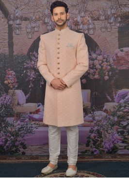 Sangeet Function Wear Georgette Fancy Peach Color Sherwani