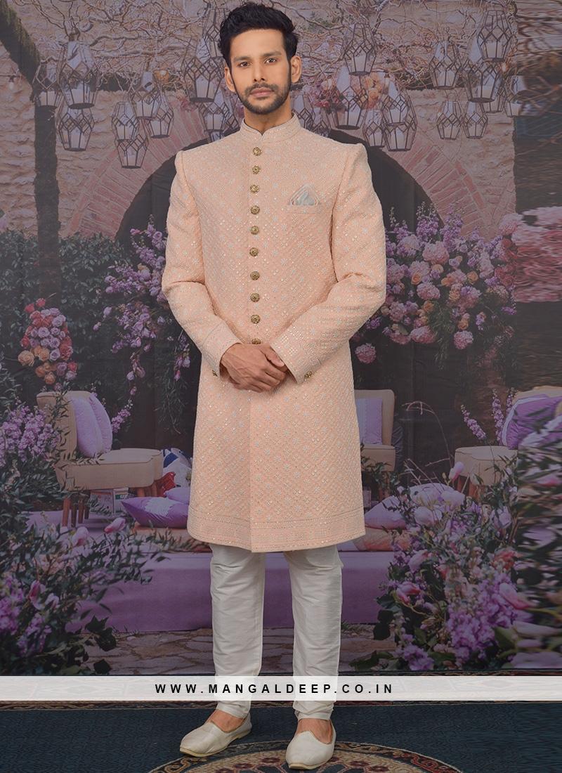 Sangeet Function Wear Georgette Fancy Peach Color Sherwani