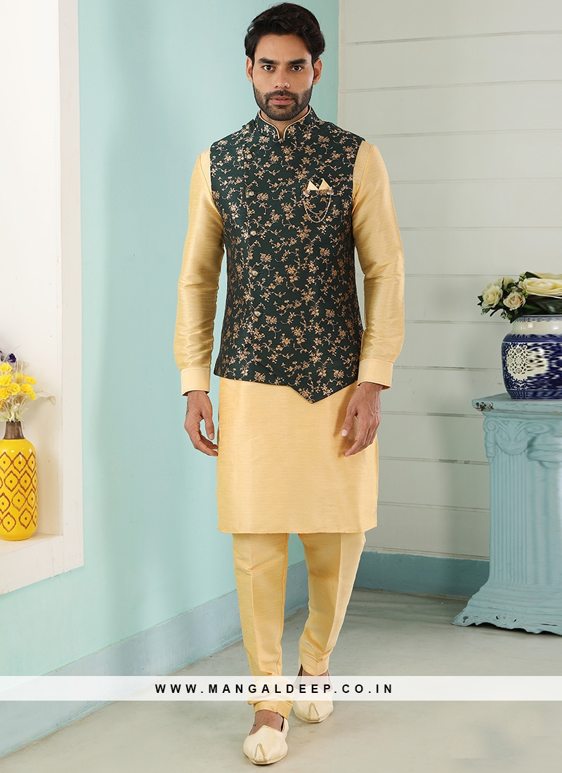 Sangeet Function Wear Gold Color Kurta Pajama With Jacket