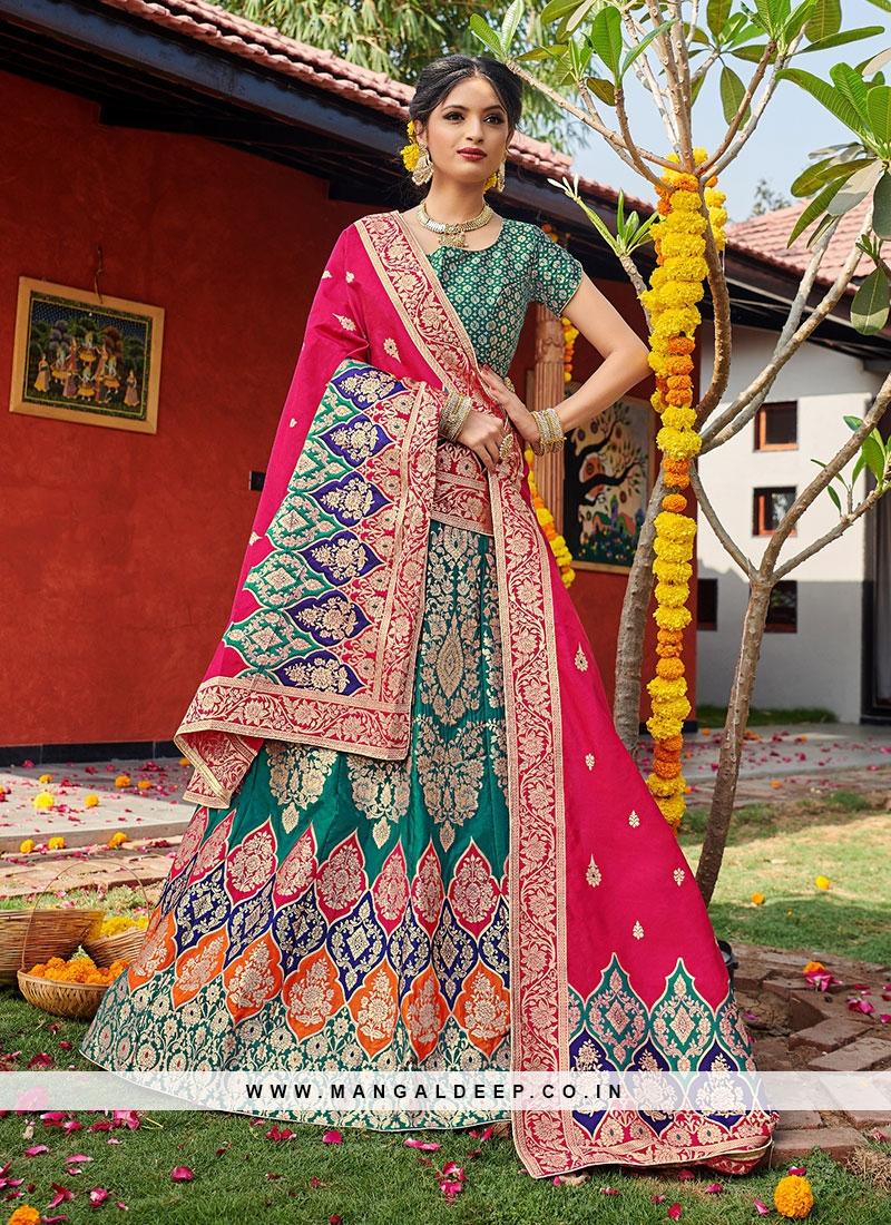Sangeet Function Wear Green Color Banarasi Silk Lehenga Choli