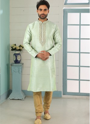 Sangeet Function Wear Green Color Designer Kurta Pajama