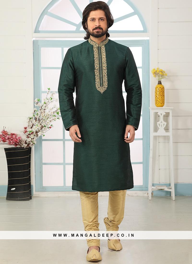 Sangeet Function Wear Green Color Designer Kurta Pajama