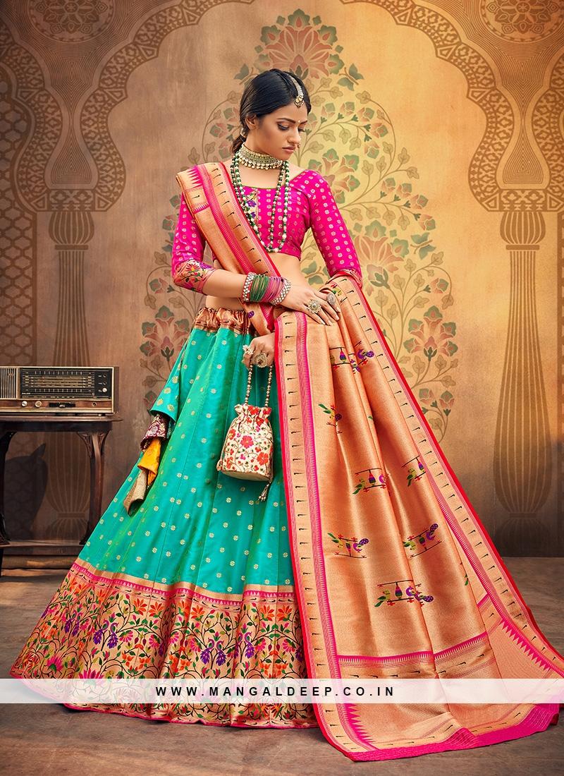 Sangeet Function Wear Green Color Designer Lehenga Choli