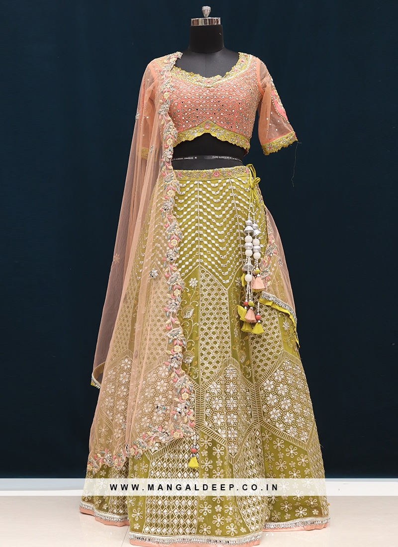 Sangeet Function Wear Green Color Embroidered Lehenga Choli