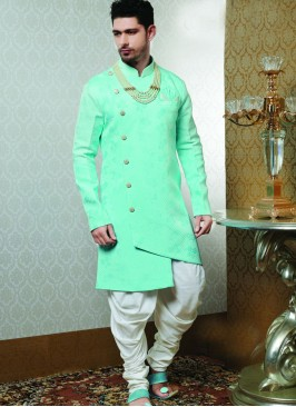 Sangeet Function Wear Green Color Fancy Indo Western Kurta Pajama