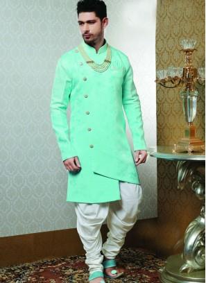 Sangeet Function Wear Green Color Fancy Indo Western Kurta Pajama