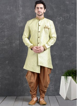 Sangeet Function Wear Green Color Jacquard Silk Indo Western Kurta Pajama