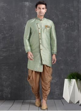 Sangeet Function Wear Green Color Jacquard Silk Indo Western Kurta Pajama
