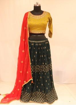 Sangeet Function Wear Green Color Lehenga Choli