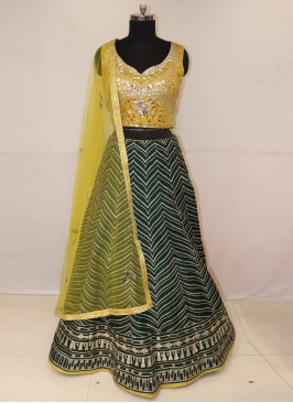 Sangeet Function Wear Green Color Lehenga Choli