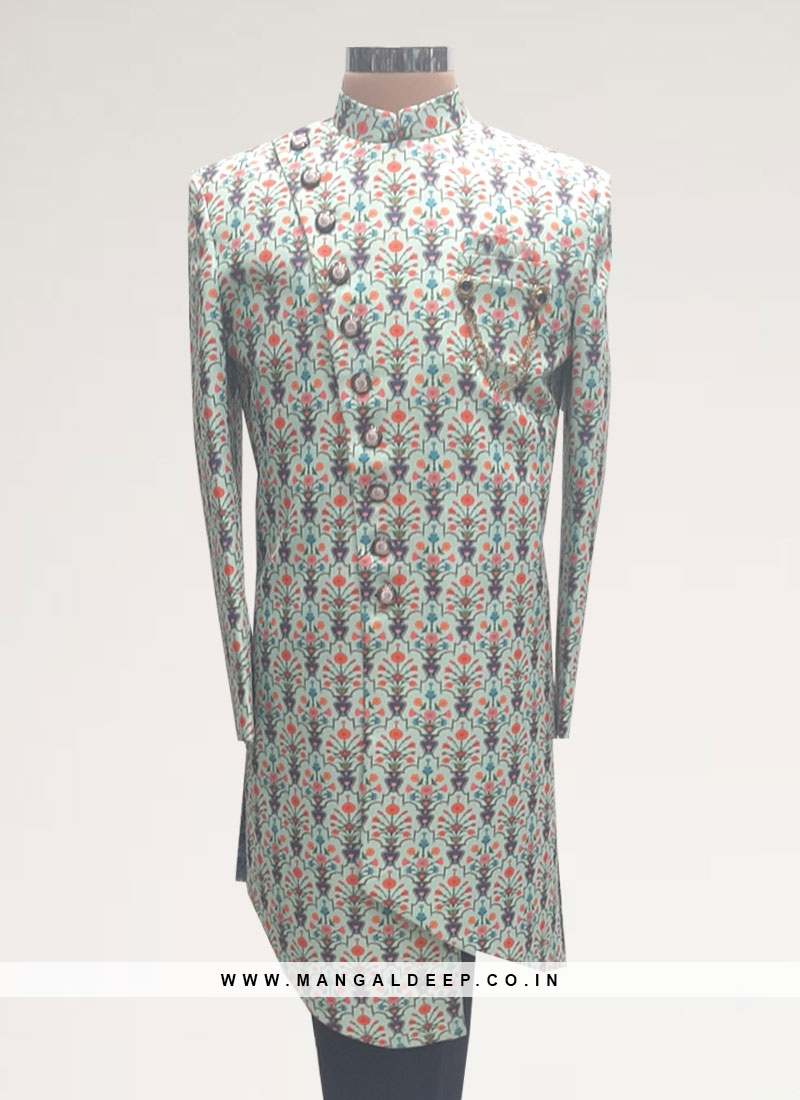 Sangeet Function Wear Green Color Men Indo Western Kurta Pajama