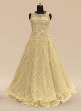 Sangeet Function Wear Green Color Net Gown
