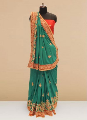 Sangeet Function Wear Green Color Silk Saree