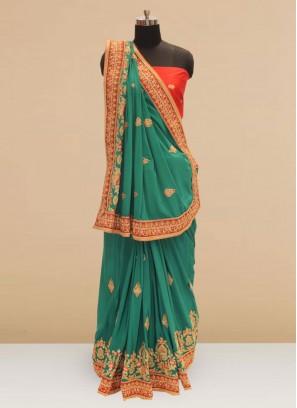 Sangeet Function Wear Green Color Silk Saree
