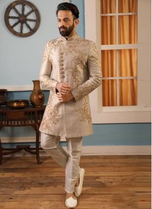 Sangeet Function Wear Grey Color Banarasi And Art Silk Indo Western Suit