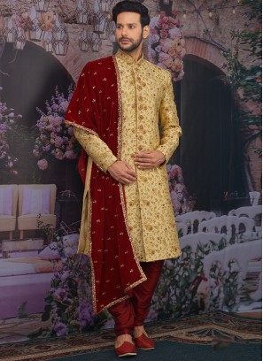 Sangeet Function Wear Jacquard Silk Fancy Gold Color Sherwani