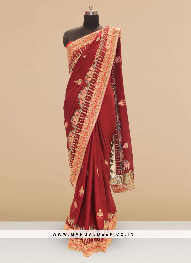 Sangeet Function Wear Maroon Color Silk Saree