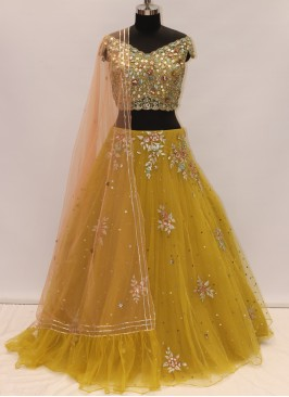 Sangeet Function Wear Mustard Color Designer Lehenga Choli