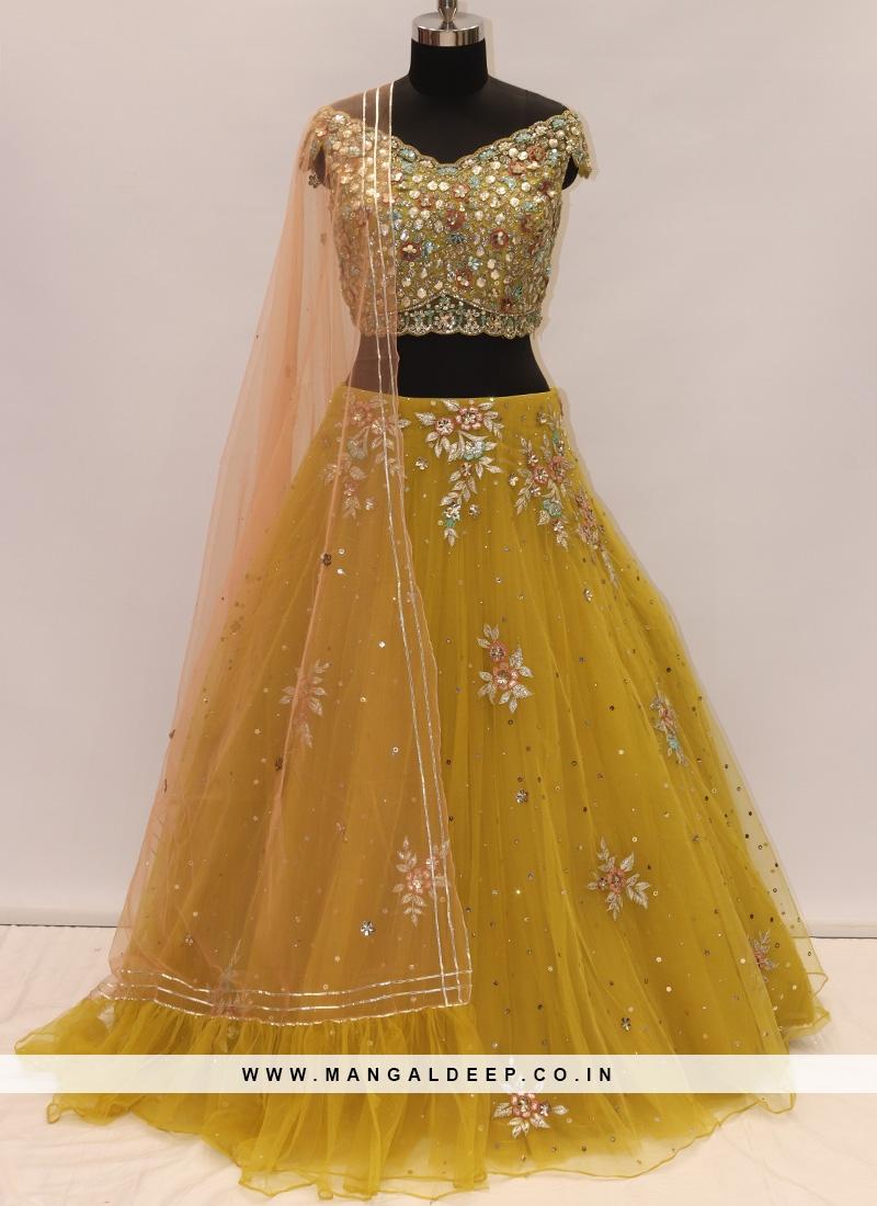 Sangeet Function Wear Mustard Color Designer Lehenga Choli