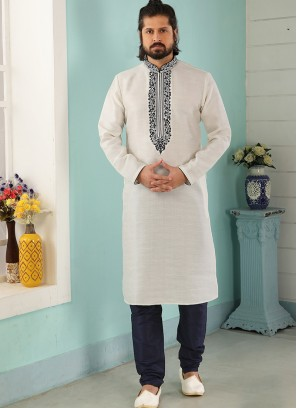 Sangeet Function Wear Off White Color Designer Kurta Pajama