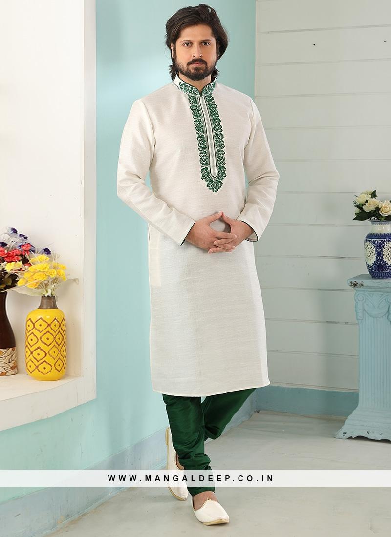 Sangeet Function Wear Off White Color Designer Kurta Pajama