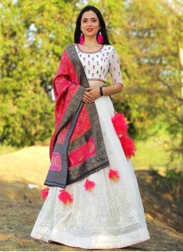 Sangeet Function Wear Off White Color Lehenga Choli