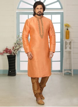 Sangeet Function Wear Orange Color Designer Kurta Pajama