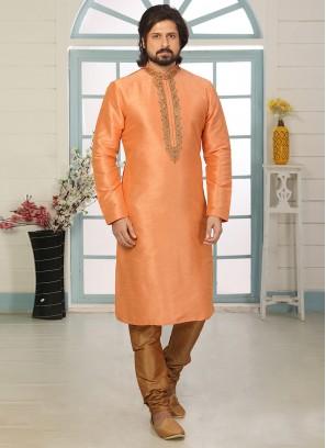 Sangeet Function Wear Orange Color Designer Kurta Pajama
