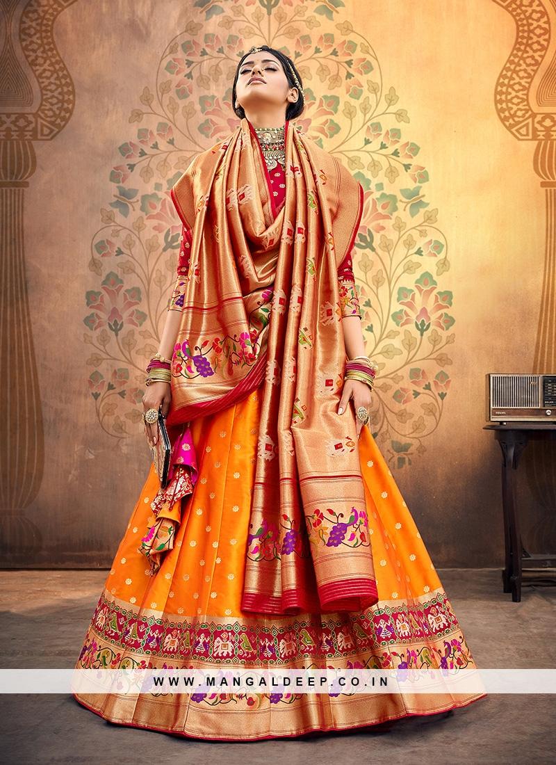 Sangeet Function Wear Orange Color Designer Lehenga Choli