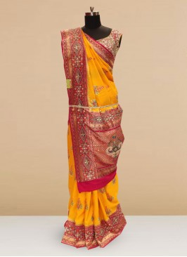 Sangeet Function Wear Orange Color Designer Saree