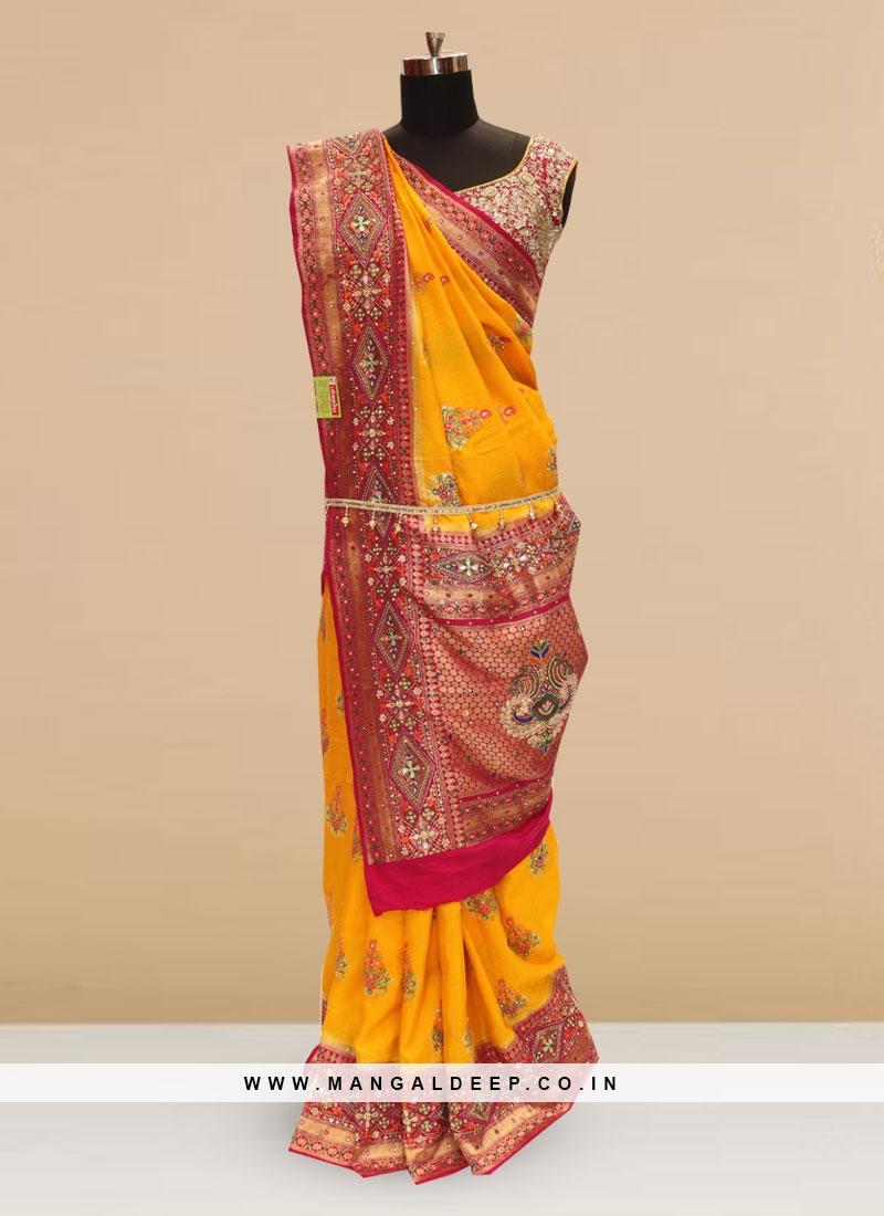 Sangeet Function Wear Orange Color Designer Saree