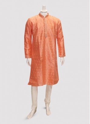 Sangeet Function Wear Orange Color Kurta Pajama