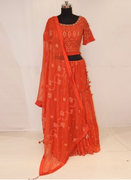 Sangeet Function Wear Orange Color Lehenga Choli