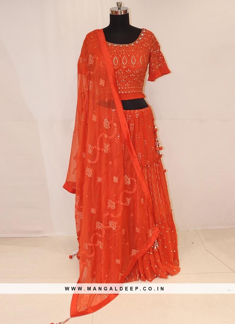 Sangeet Function Wear Orange Color Lehenga Choli