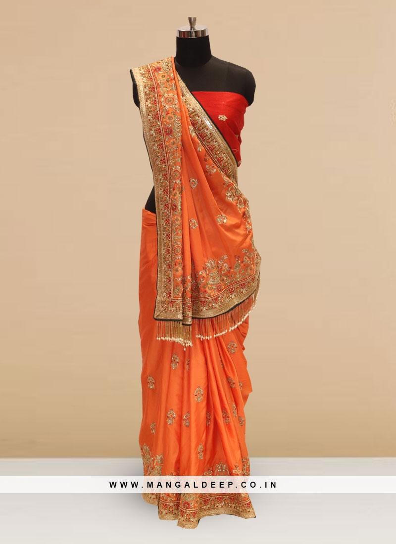 Sangeet Function Wear Orange Color Silk Saree