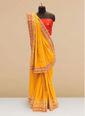 Sangeet Function Wear Orange Color Silk Saree