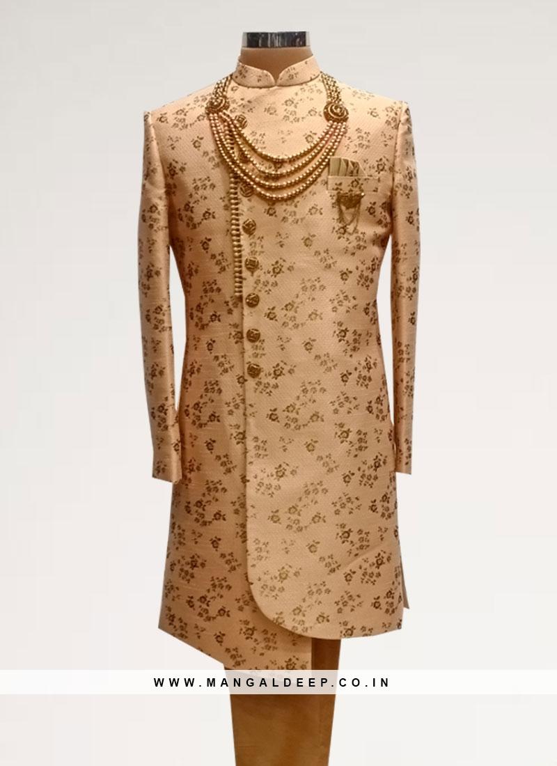 Sangeet Function Wear Peach Color Men Indo Western Kurta Pajama