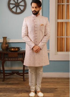 Sangeet Function Wear Pink Color Banarasi And Art Silk Indo Western Suit