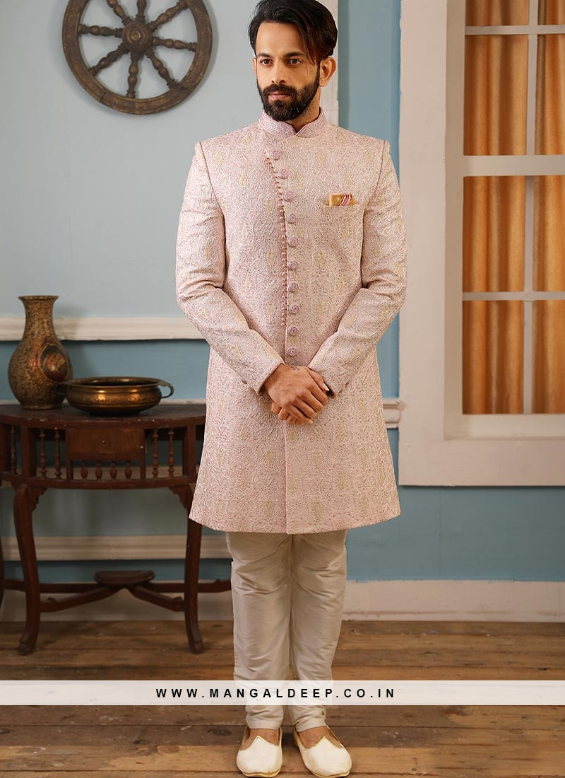 Sangeet Function Wear Pink Color Banarasi And Art Silk Indo Western Suit