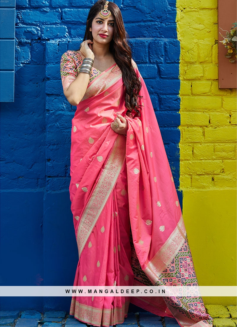 Sangeet Function Wear Pink Color Banarasi Silk Saree