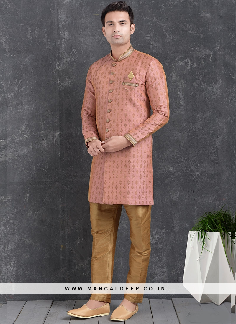 Sangeet Function Wear Pink Color Jacquard Silk Indo Western Kurta Pajama