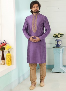 Sangeet Function Wear Purple Color Designer Kurta Pajama